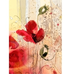 Watercolor of poppies vector image vector image