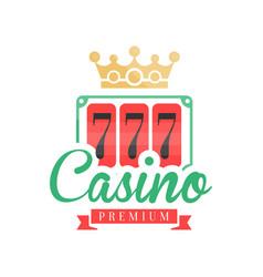 casino premium logo colorful gambling vintage vector image vector image