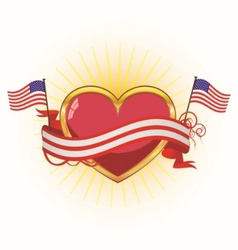 heart with ribbons for july 4th vector image vector image
