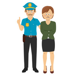 law enforcement officer handcuffing a woman vector image