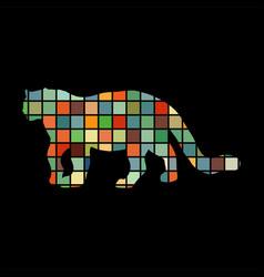 leopard wildcat color silhouette animal vector image