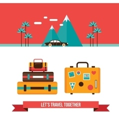 Lets travel background with suitcases bag Summer vector image