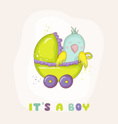 newborn parrot riding in carriage baby shower vector image vector image