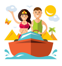 romantic vacation flat style colorful vector image vector image