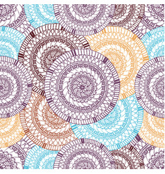 seamless pattern of hand drawn round items vector image