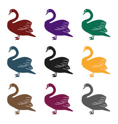 swan icon in black style isolated on white vector image vector image