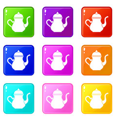Traditional turkish teapot icons 9 set vector