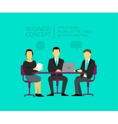 Two men and woman at the desk Business meeting vector image vector image