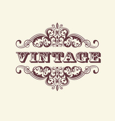vintage styled sign with floral vector image vector image