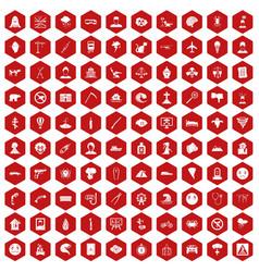 100 phobias icons hexagon red vector