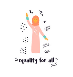 a protesting muslim woman vector image