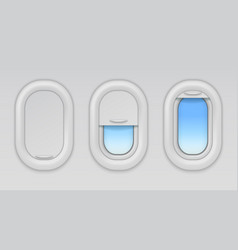airplane windows aircraft portholes with blue sky vector image