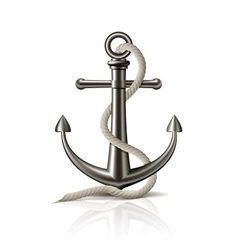 Anchor with rope on white background vector
