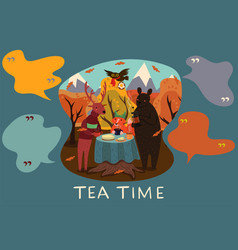 Animal tea party in autumn forest vector