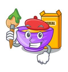 Artist cereal box in a cartoon bowl vector