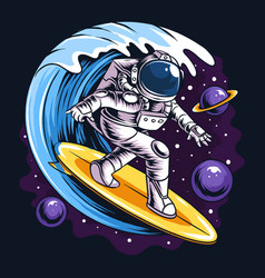 Astronauts surf on a surfboard in space vector