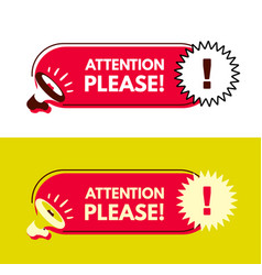 Attention please megaphone with bubble speech vector