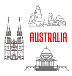Australian travel landmarks linear icon vector