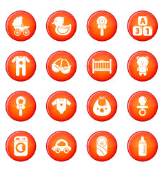 baby born icons set red vector image
