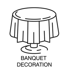 Banquet decoration round table with tablecloth vector