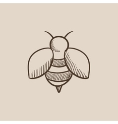 Bee sketch icon vector