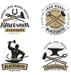 blacksmith forge logo or label blacksmithing vector image