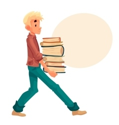 Blond boy carrying a pile of books vector image