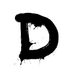 blot letter d black and white vector image