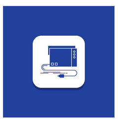 Blue round button for audio card external vector
