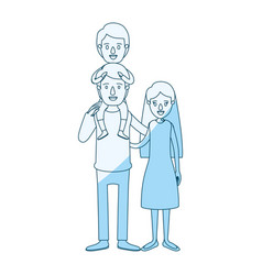 Blue silhouette shading caricature family mother vector