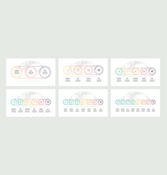 business process timelines with 3 4 5 6 7 8 vector image