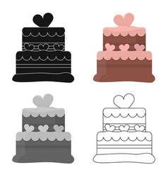 cake icon in cartoon style for web vector image