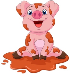 Cartoon cute baby pig vector image