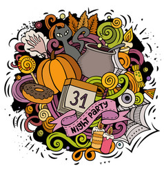 cartoon doodles happy halloween vector image