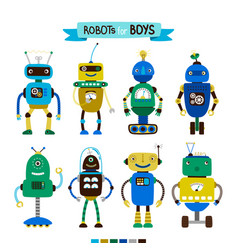 cartoon robots set for boys vector image