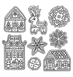 christmas gingerbread set in outline deer vector image