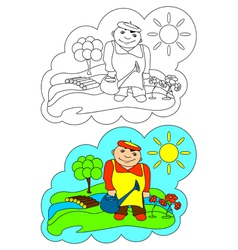 Color-in Gardener vector image