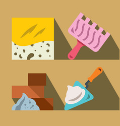 Construction tools and materials flat vector