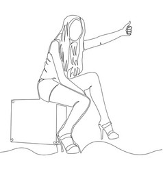 Continuous line art one line traveler girl vector