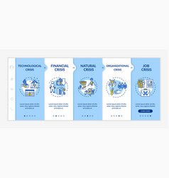Crisis types onboarding template financial vector