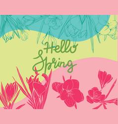 Crocus floral elements spring background vector