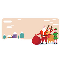 cute elf santa and deer standing together merry vector image