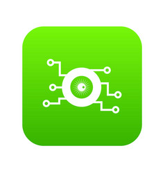 Cyber eye symbol icon digital green vector