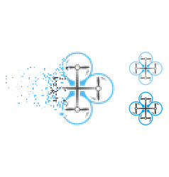 Disintegrating dot halftone quad copter icon vector