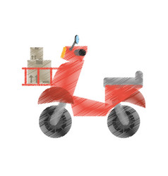 drawing delivery scooter service fast vector image