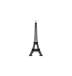 eiffel tower black on white background vector image