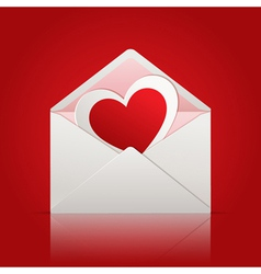 Envelope with paper heart inside vector