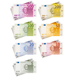 euro bills set vector image