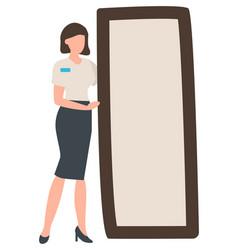 Fashion advisor standing mirror shopping store vector