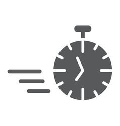 fast stopwatch glyph icon time and speed timer vector image
